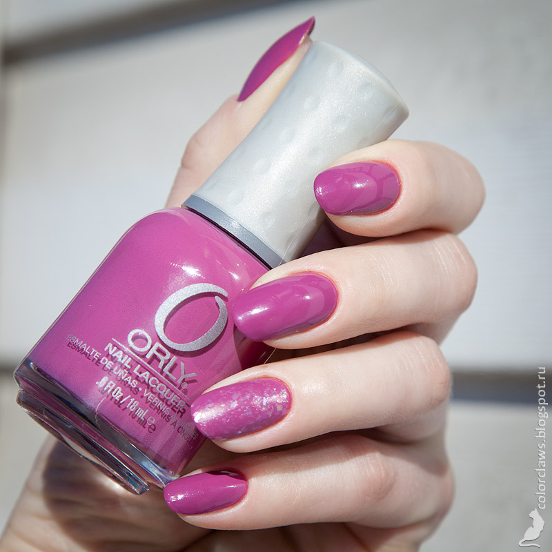 Orly Pure Petunia + Pink Flakie Topcoat