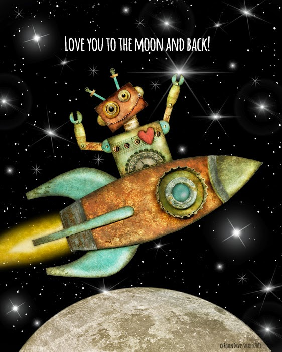 Love you to the moon and back - Robots - Robin Davis Studio
