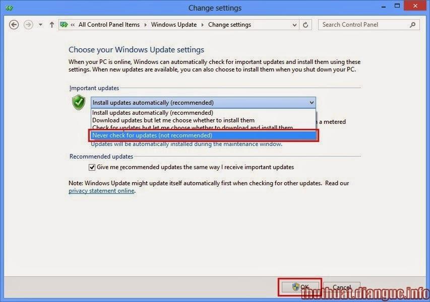 Cách tắt win 8 tự động cập nhật update nhanh