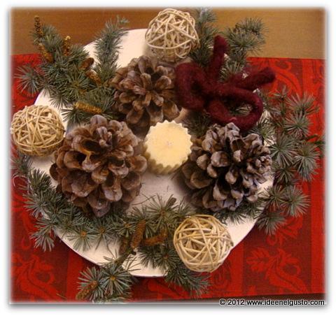Centrotavola con pigne e candele jj56 regardsdefemmes - Centro tavola natalizio con pigne ...