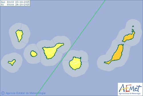 Activan a viso naranja por lluvias para viernes 23 octubre en Fuerteventura y Lanzarote