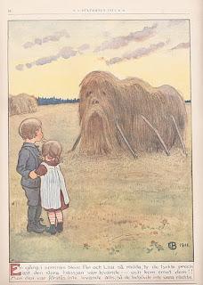 En gång i somras blevo Per och Lisa så rädda, ty de tyckte precis att den stora hässjan var levande – och kom emot dem!! Men den var förstås inte levande alls, så de behövde inte vara rädda.