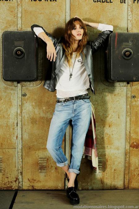 Pantalones de jeans holgados y arremangados, moda urbana inspirada en el strret stylle Tucci invierno 2014.