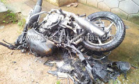 Bike, Fire, Burned, Panur, Congress Group, T.M. Babu, Kannur, Kerala, Kannur Vartha