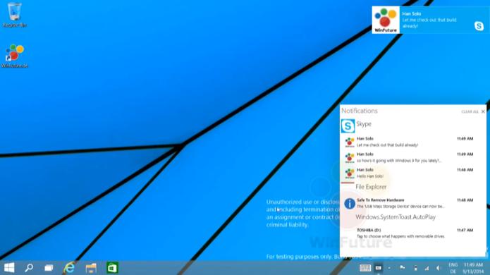 Central de notificações é uma das novidades do Windows 9