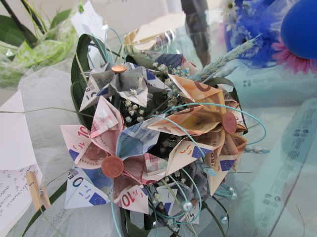 Italian wedding bouquet made of money, euro notes