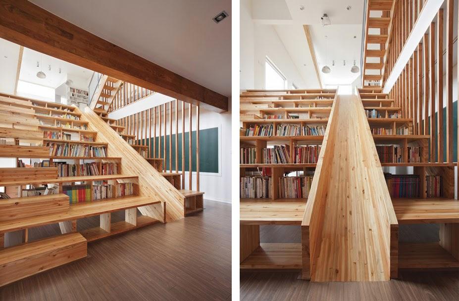 Escalera estanter a y tobog n de madera espacios en madera - Estanteria escalera casa ...