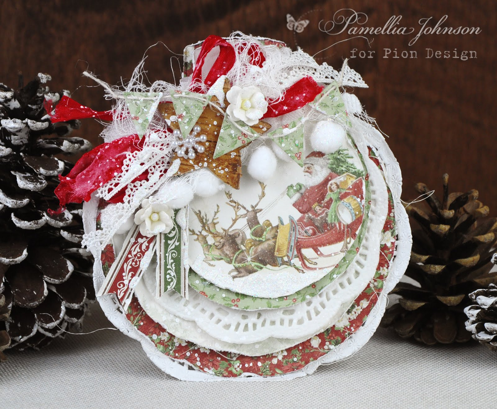 Santa's Sleigh Ornament Card