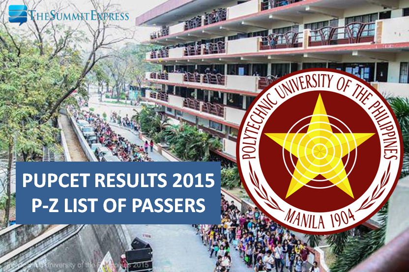 PUPCET Results 2015 now out, P-Z List of Passers