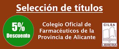 Selección de títulos Farmacia con un 5% de descuento, en Libreria Cilsa de Alicante.