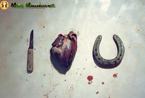 coração, uma faca, e uma ferradura