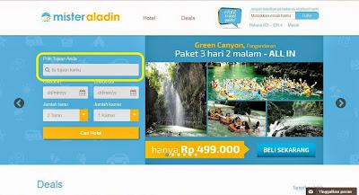 Pemilihan Hotel pada Mister Aladin Website