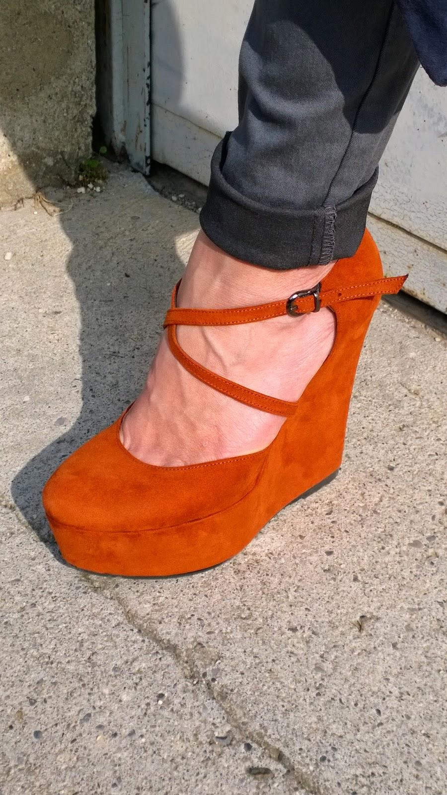 rust colored wedge platform sandals