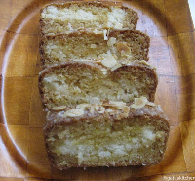 Lemon coconut cake with cream cheese filling