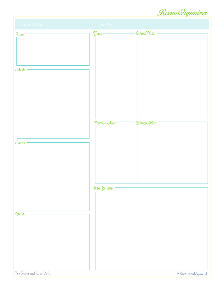 Laying the foundation and a free printable scattered for Room organizer online