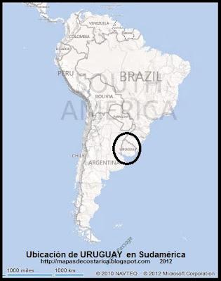 Ubicación de URUGUAY en Sudamérica, BING