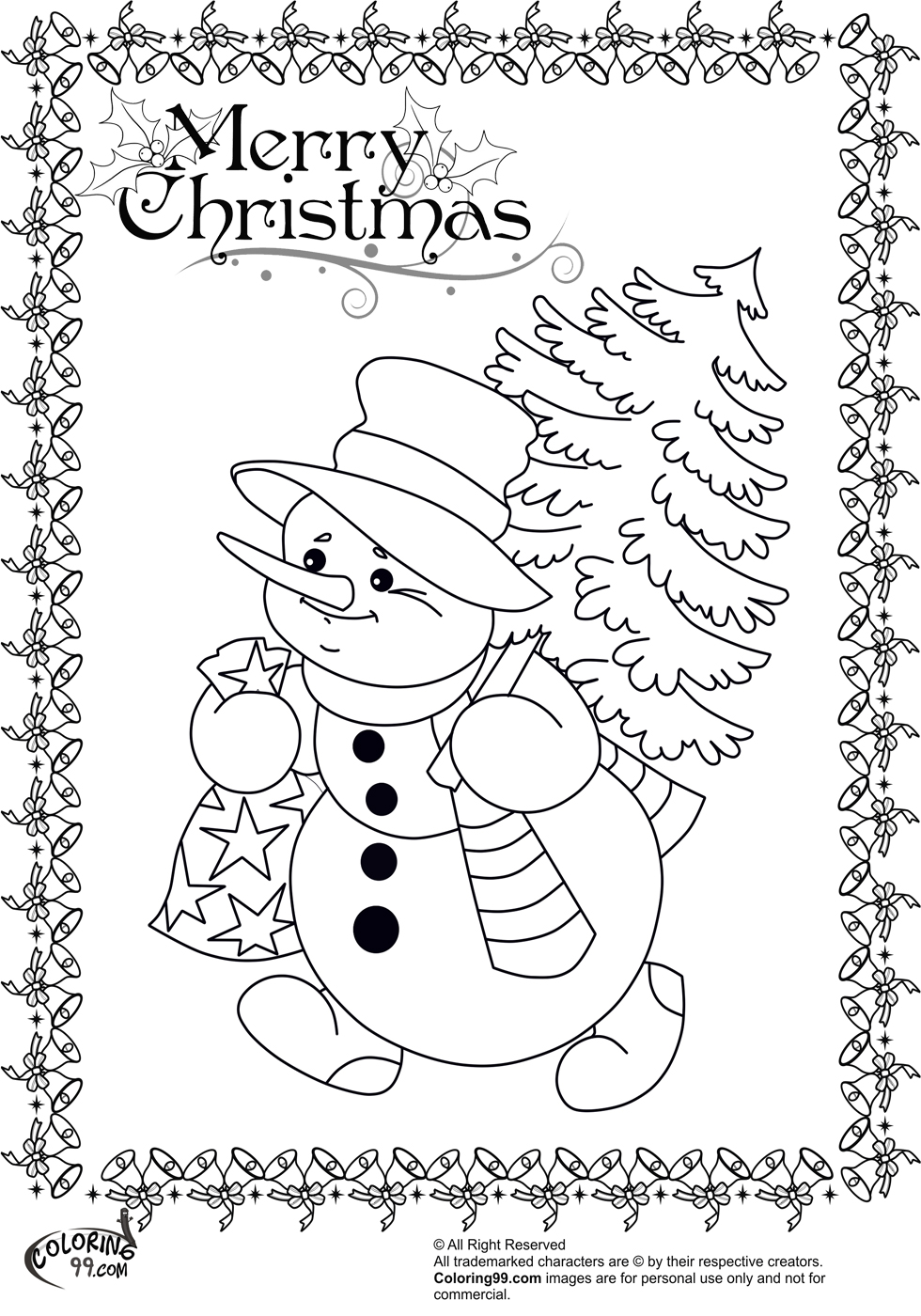 Snowman Coloring Pages Team colors