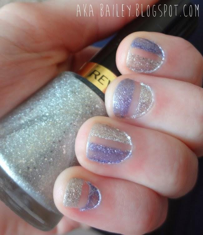 Half blue, half silver nails