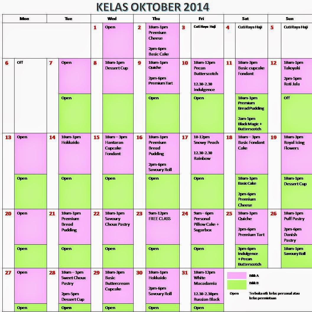 Jadual Kelas Oktober