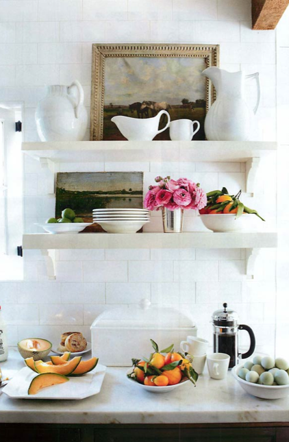 Both decorative and functional, this open shelving is casually, yet ...