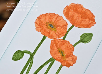 Close up of Pleasant Poppies from Stampin' Up coloured with markers