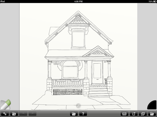 Line drawing of house portrait