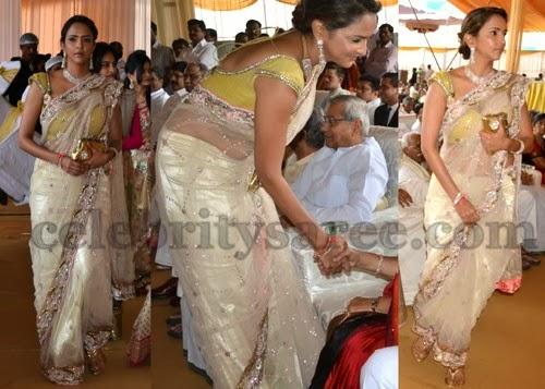 Lakshmi Manchu in Shimmer Net Sari