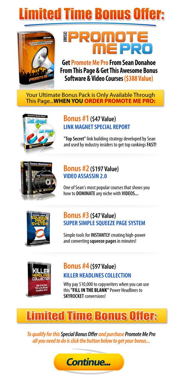 Promote Me Pro Bonus Package