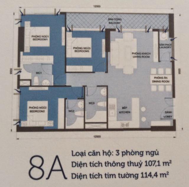 Căn hộ Vinhomes Central Park 6 - căn hộ số 8A - 114.4m2 - 3PN