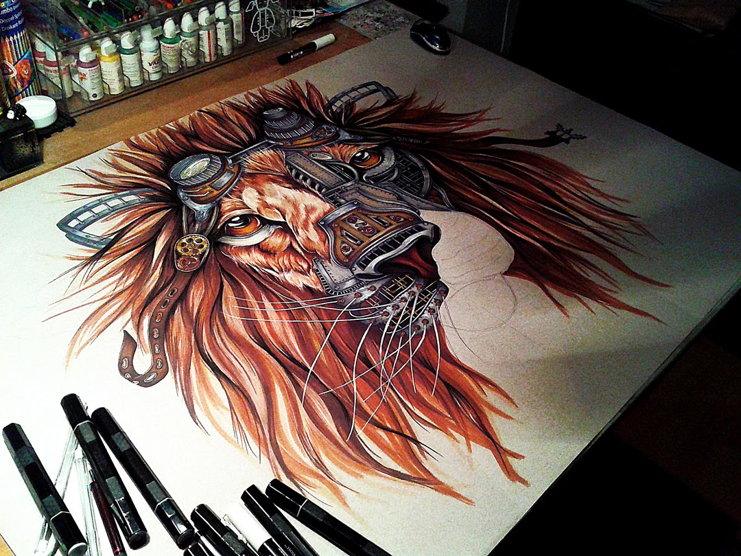 05-Steampunk-Lion-Paula-Duță-Drawing-Animals-Steampunk-Clothing-www-designstack-co