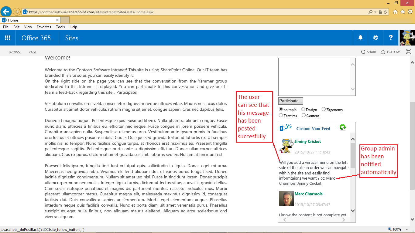 In this post i will show how to post a message into a yammer group from a sharepoint online page using again the javascript sdk for yammer and the yammer
