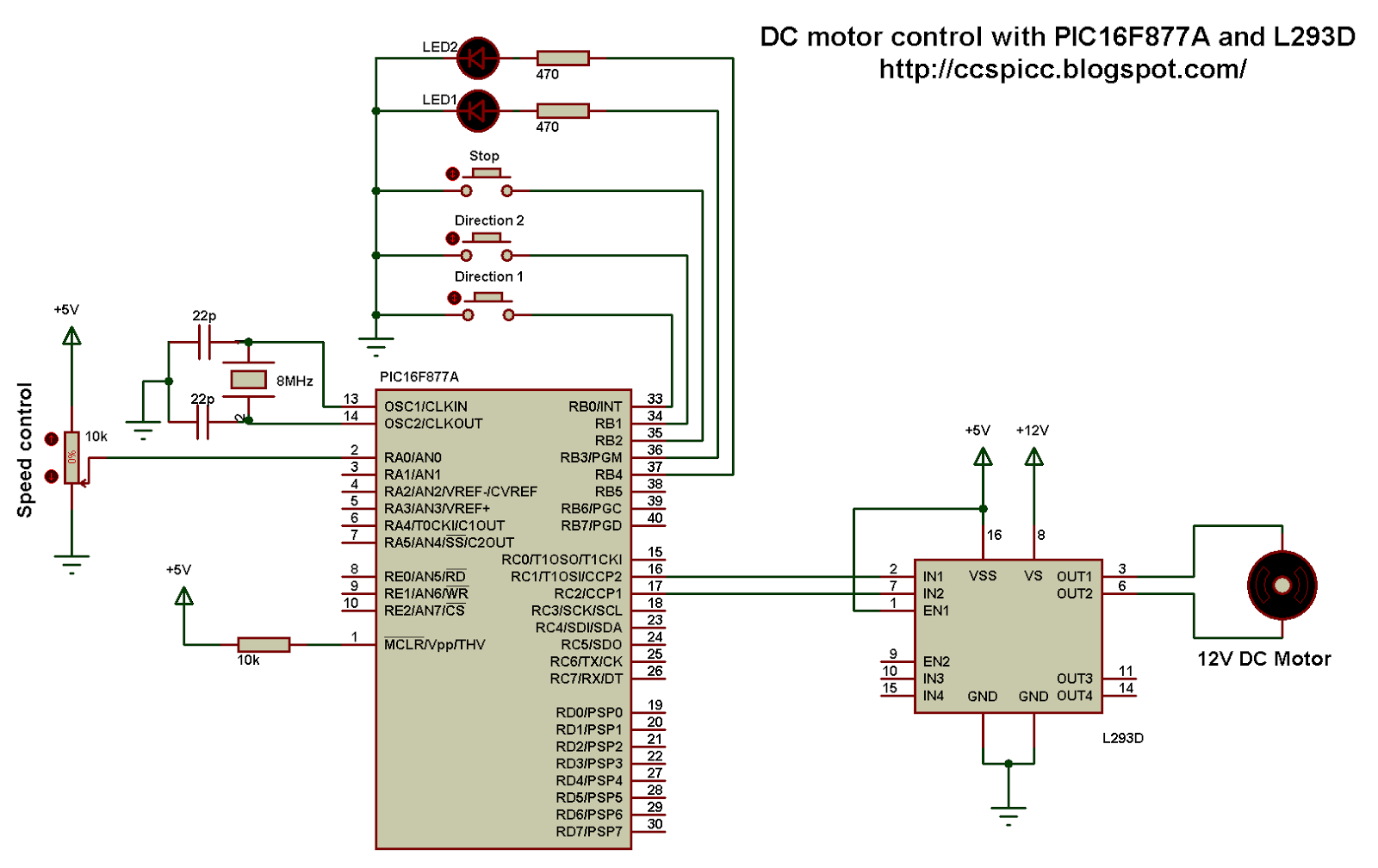 dc motor control with pic16f877a and l293d proteus