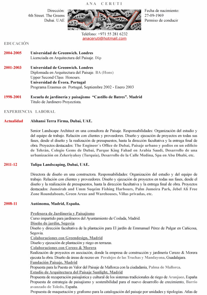 Ana Ceruti PAISAJISTA: Curriculum Vitae