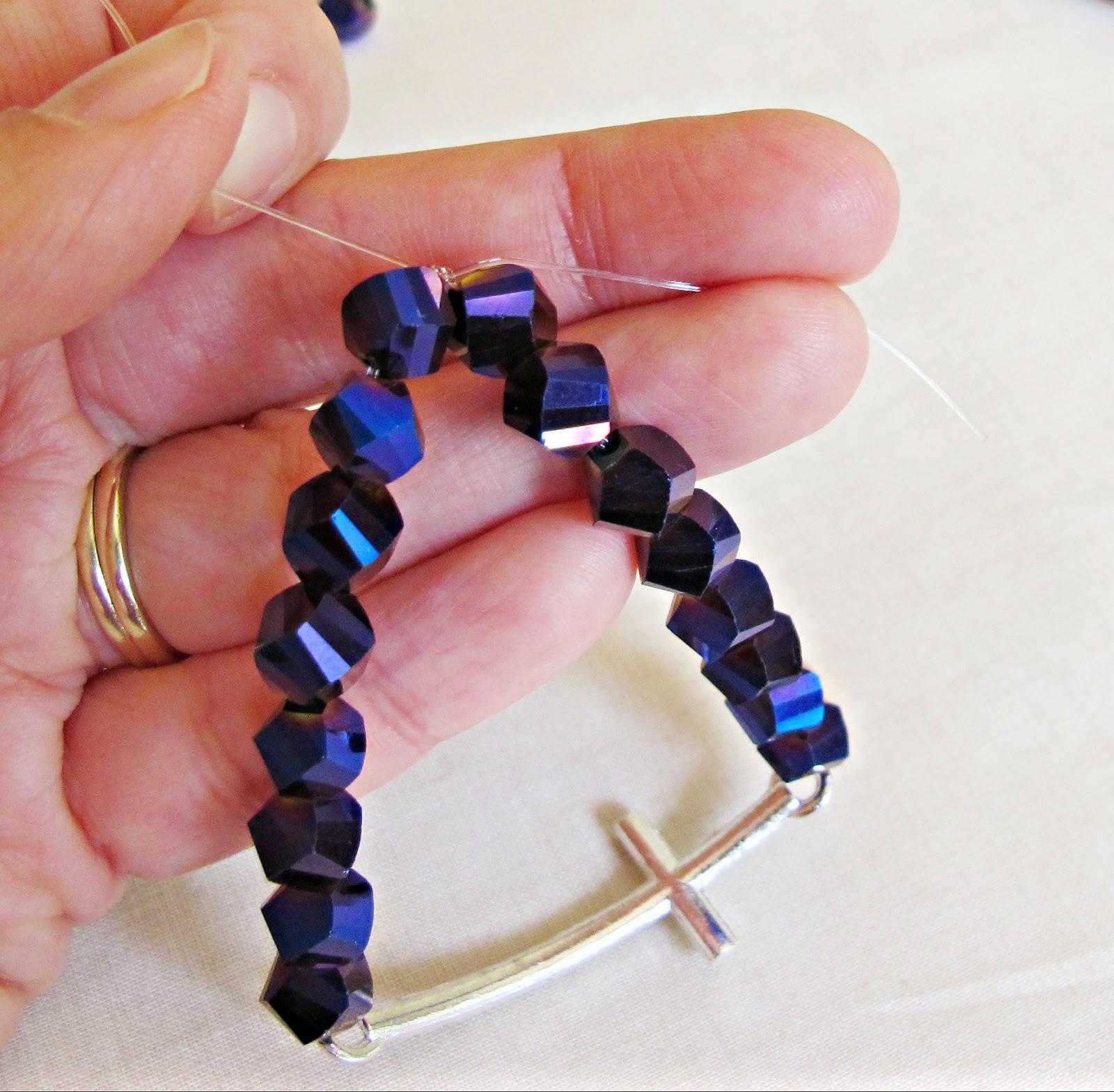 image diy tutorial rhinestone cross bracelet stretch elastic beaded two cheeky monkeys