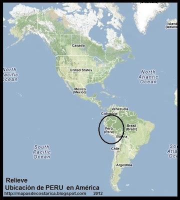 Relieve. Ubicación de PERU en AMERICA