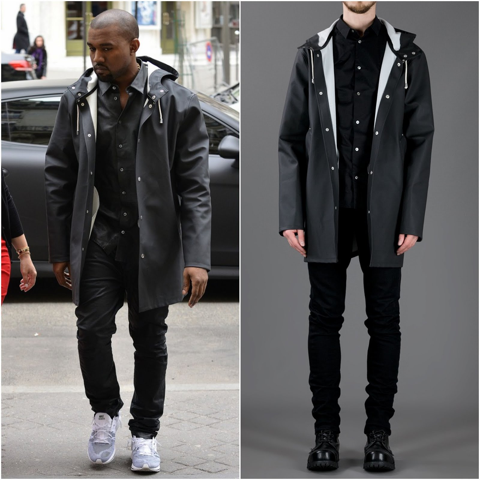 00O00 Menswear Blog: Kanye West in Stutterheim raincoat parka with Kim Kardashian - Paris Street Style April 2013