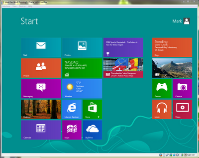 VirtualBox with Windows 8: Start Screen
