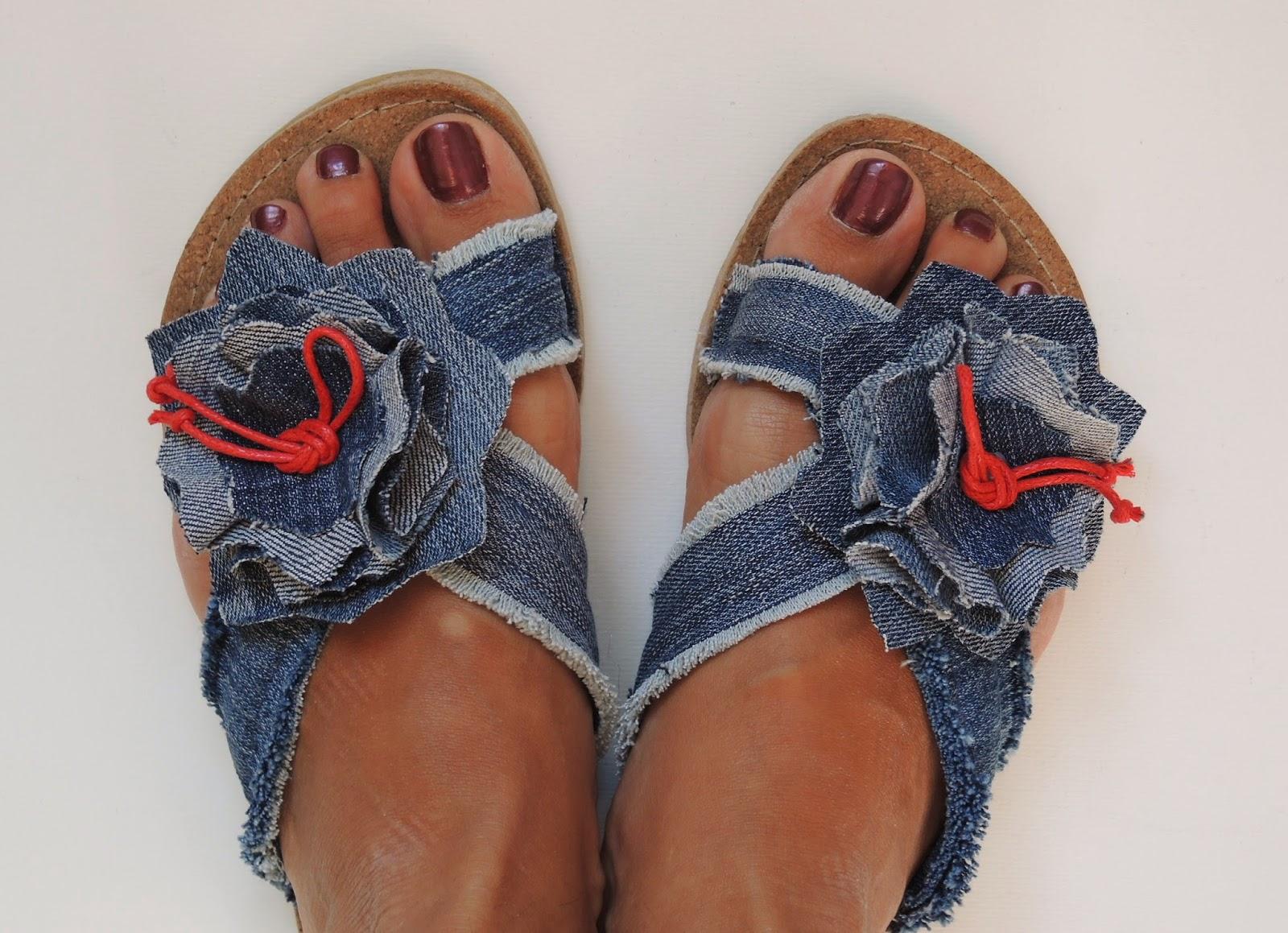 обувь из джинс, своими руками