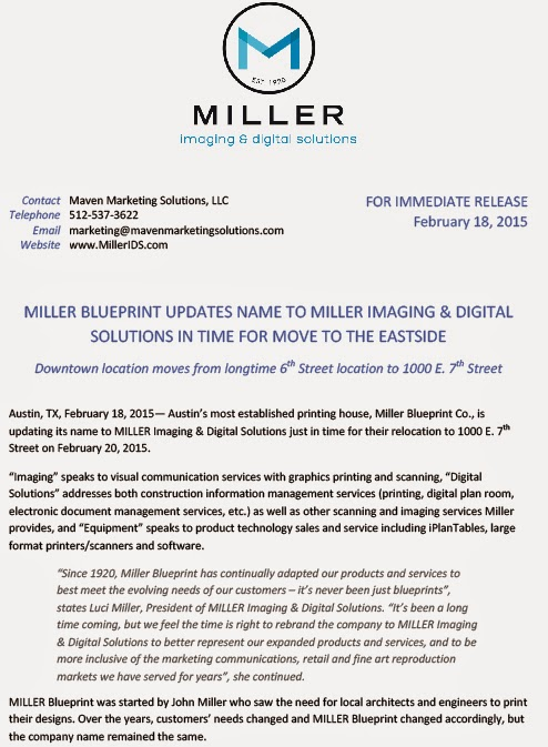 Reprographic services association miller blueprint name logo and miller blueprint is now miller imaging digital solutions below is the press release announcing their new name logo and location malvernweather Choice Image