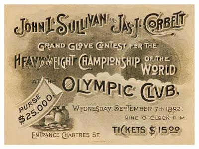 Anuncio combate John L Sullivan vs Jim Corbett