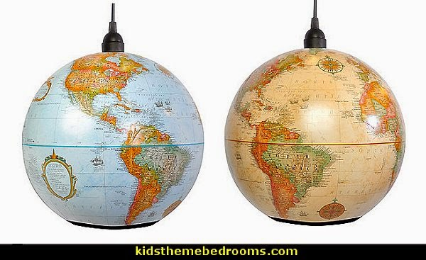 Decorating theme bedrooms maries manor travel theme for Pendulum light globes