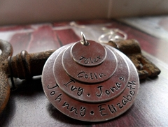 Four Stacked Handstamped Pendants