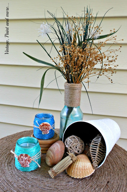 Vintage, Paint and more... raffia wrapped votives with sea shells on a twine wrapped table