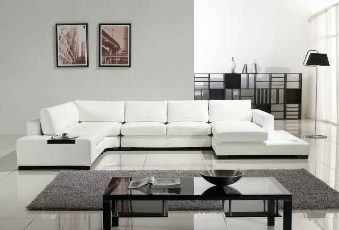 Modern white sofa designs an interior design for Living room ideas with white leather couches