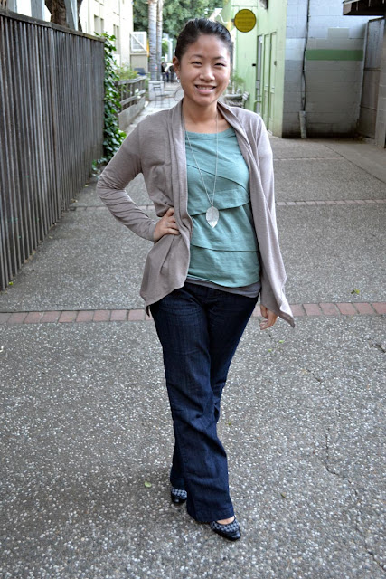 sacramento office fashion blogger angeline evans the new professional blog banana republic factory cardigan tee merona trouser jeans anne klein shoes