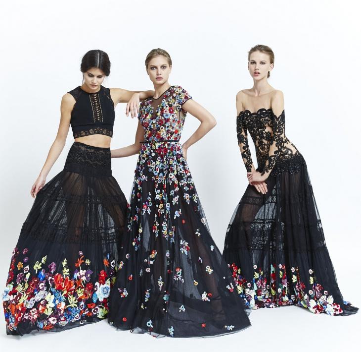 черная ткань в ярких цветах