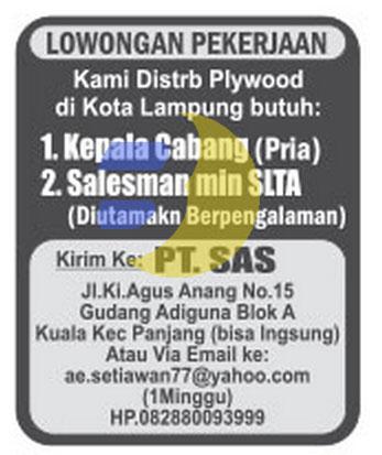 Lowongan Kerja PT. SAS Lampung
