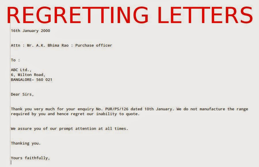 Regretting letters samples business letters regretting letters regret letters business regret letters proposal regret letters for employment stopboris Image collections