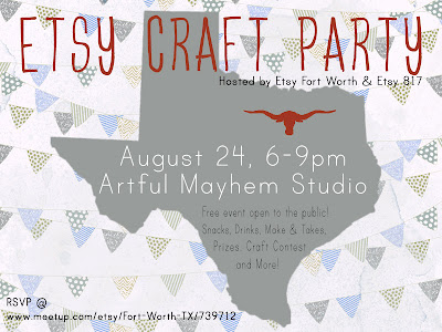 Fort Worth Etsy Craft Party Flyer Invite August 2012