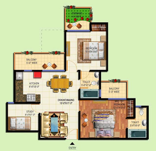 Amrapali Terrace Homes :: Floor Plans 2 BHK + 2T + Study + Terrace